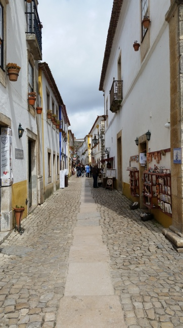 cobbled streets Obidos Portugal